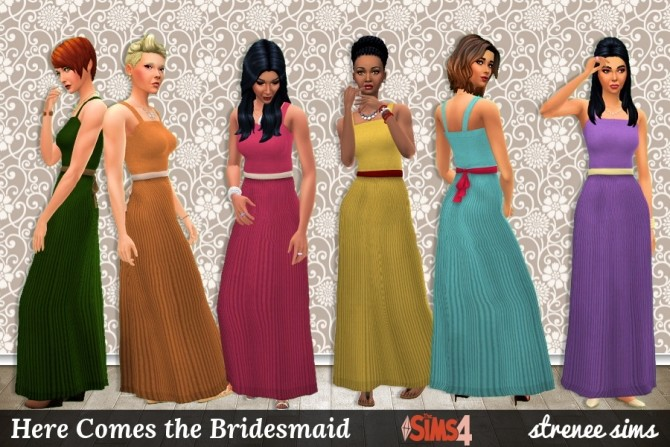 Sims 4 Here Comes the Bridesmaid dress at Strenee Sims