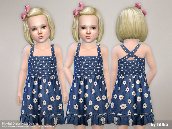 Sims 4 Playful Dress with Daisies by lillka at TSR