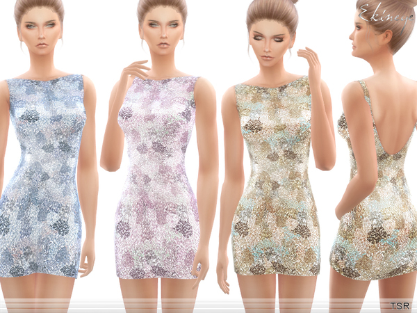Sims 4 All Over Sequin Dress by ekinege at TSR