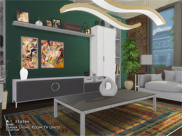 Diana Living Room TV Units by ArtVitalex at TSR image 283 Sims 4 Updates