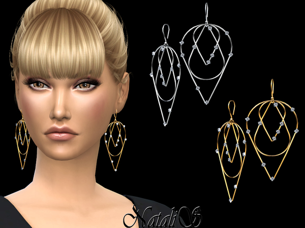 Three Tier Diamond Earrings by NataliS at TSR image 2920 Sims 4 Updates
