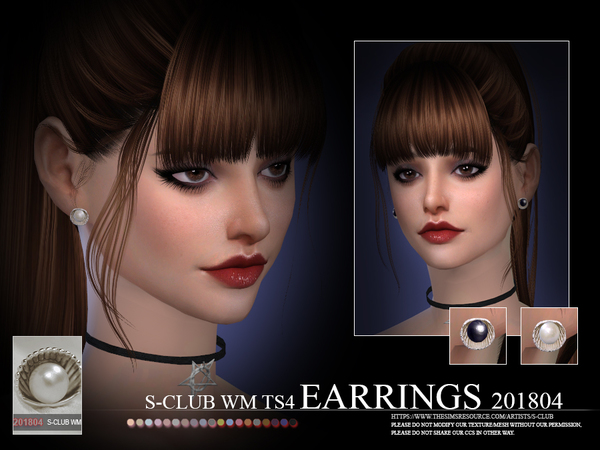 EARRINGS F 201804 by S Club WM at TSR image 298 Sims 4 Updates
