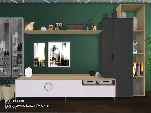 Diana Living Room TV Units by ArtVitalex at TSR image 303 Sims 4 Updates