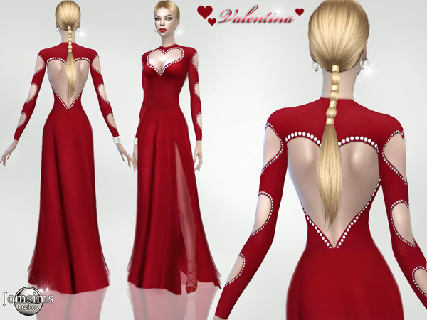 Sims 4 Valentina dress by jomsims at TSR