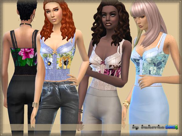 Sims 4 Top Bustier by bukovka at TSR