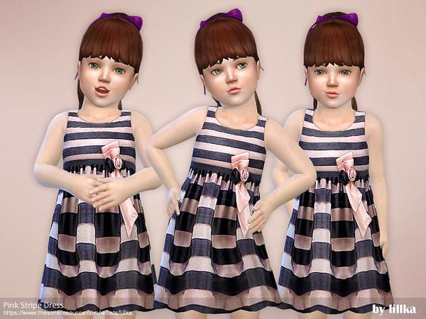Sims 4 Pink Stripe Dress by lillka at TSR
