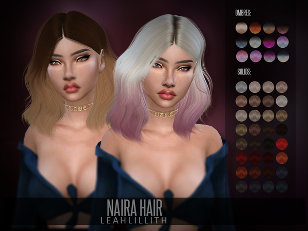 Sims 4 Naira Hair by Leah Lillith at TSR