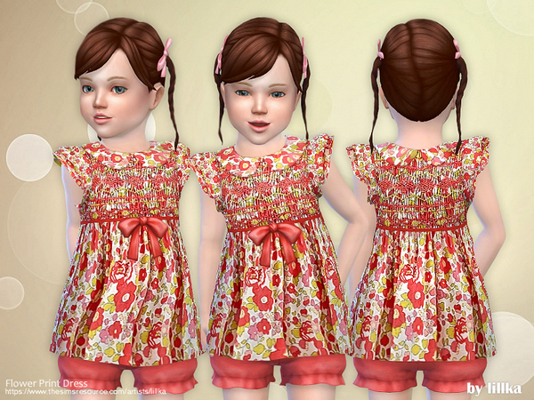 Flower Print Dress by lillka at TSR image 4010 Sims 4 Updates