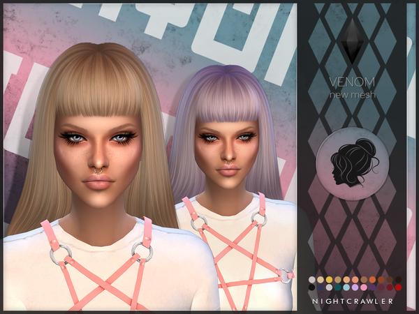 Sims 4 Venom hair by Nightcrawler at TSR