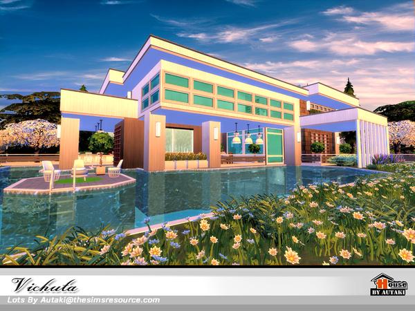 Sims 4 Vichuta Modern house NoCC by autaki at TSR