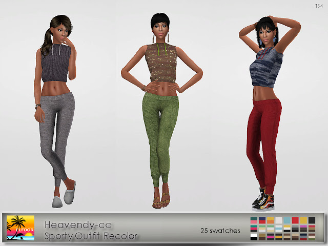Sims 4 Heavendy cc Sporty Outfit Recolor at Elfdor Sims