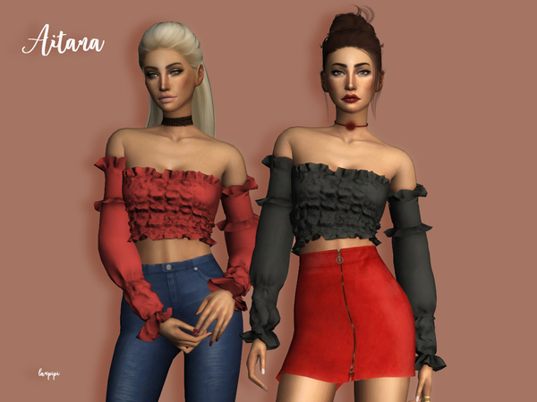 Aitana blouse by laupipi at TSR image 5412 Sims 4 Updates