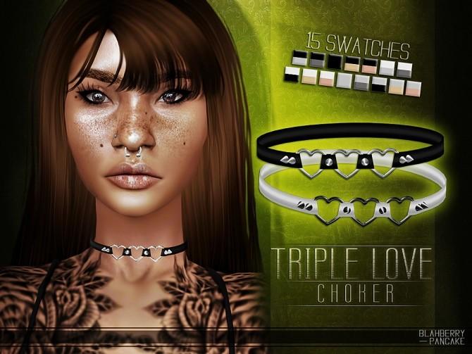 Sims 4 Triple love choker at Blahberry Pancake