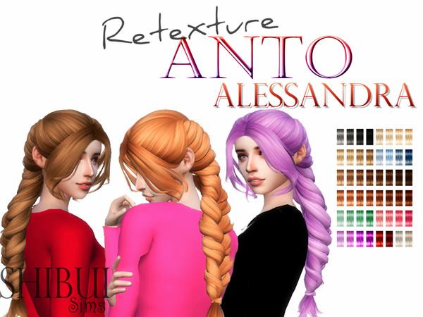 Sims 4 Retexture Anto Alessandra hair by Shibui Sims at TSR