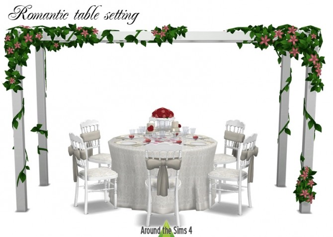 Sims 4 Romantic table setting at Around the Sims 4