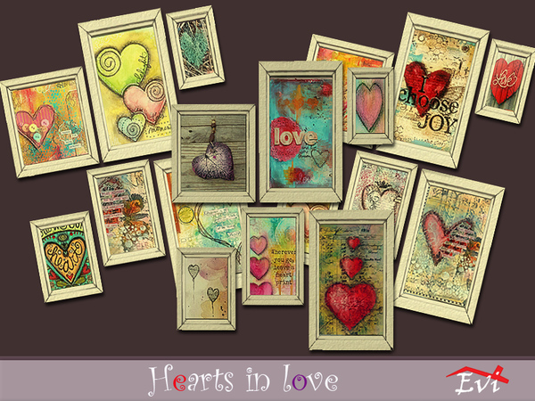 Sims 4 Hearts in Love paintings by evi at TSR