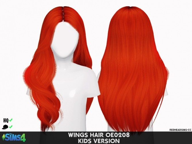 Sims 4 WINGS HAIR OE0208 KIDS VERSION at REDHEADSIMS