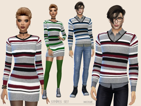 Sims 4 Stripes Set by Paogae at TSR