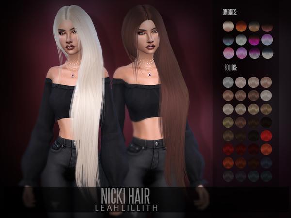 Sims 4 Nicki Hair by Leah Lillith at TSR