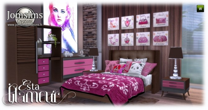 Esta glamorous bedroom at Jomsims Creations image 637 670x355 Sims 4 Updates