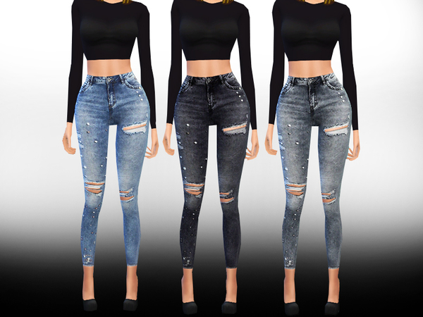 Sims 4 Only Pearl Embellished Skinny Jeans by Saliwa at TSR