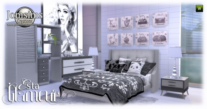 Esta glamorous bedroom at Jomsims Creations image 657 670x355 Sims 4 Updates