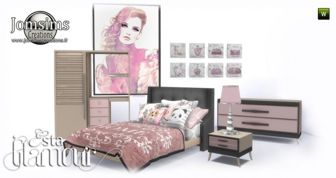 Esta glamorous bedroom at Jomsims Creations image 667 670x355 Sims 4 Updates