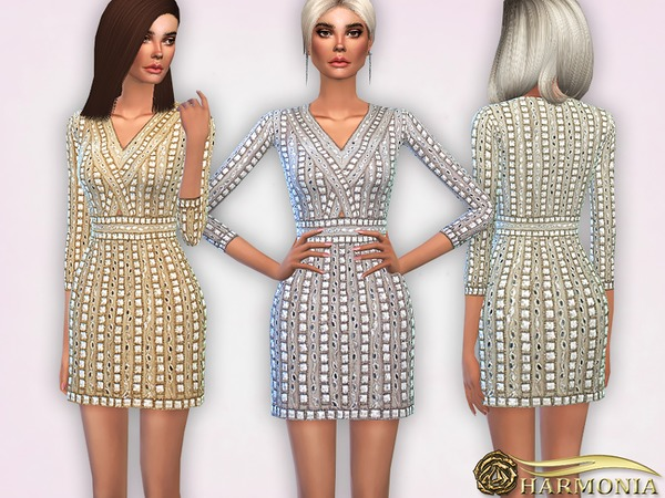 Sims 4 Embellished Beaded Cocktail Dress by Harmonia at TSR