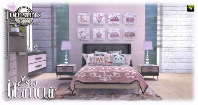 Sims 4 Esta glamorous bedroom at Jomsims Creations