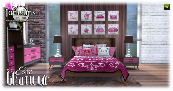 Esta glamorous bedroom at Jomsims Creations image 707 670x355 Sims 4 Updates
