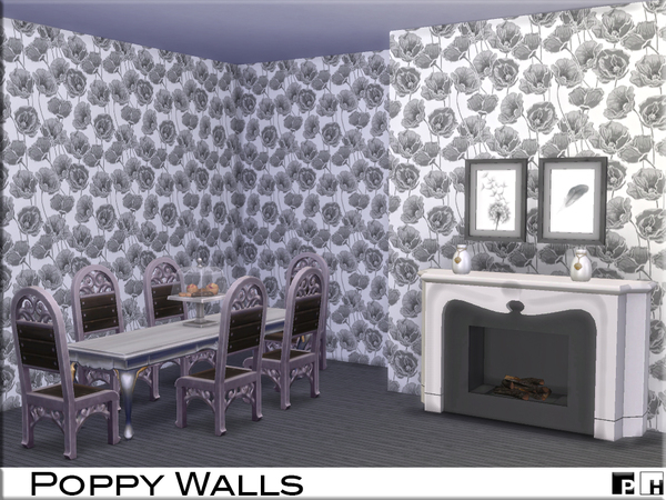 Sims 4 Poppy Walls by Pinkfizzzzz at TSR