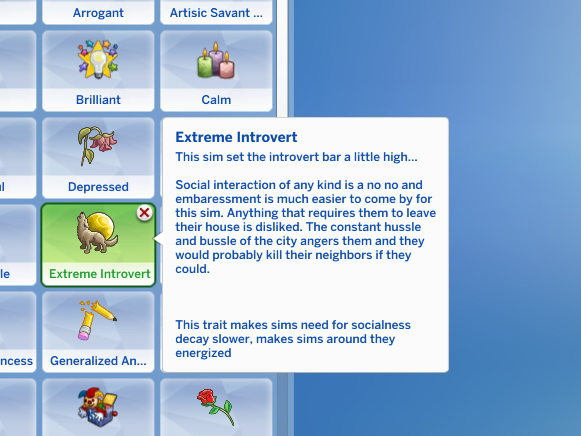 Extreme introvert trait in CAS by ChloeTheNinja at Mod The Sims image 764 Sims 4 Updates