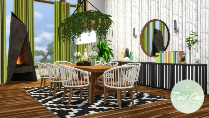 Oasis chic dining outdoor set at simsational designs for Sims 4 exterior design