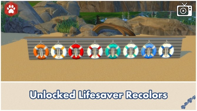 Sims 4 Unlocked Wooden Sailor Statue + Lifesaver by Bakie at Mod The Sims