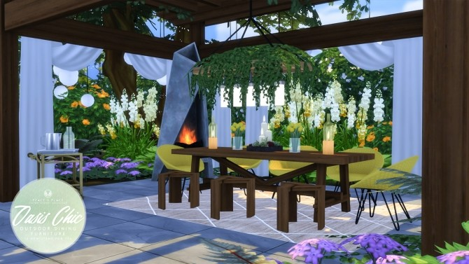 Oasis Chic Dining Outdoor Set At Simsational Designs 187 Sims 4 Updates