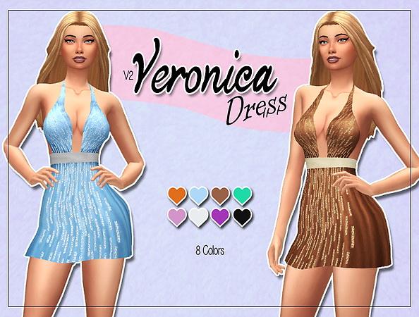 Sims 4 Veronica Dress V2 at Kass