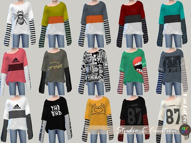 Sims 4 Giruto 43 long sleeves layer tee kids at Studio K Creation