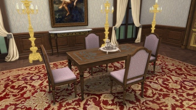 Sims 4 French Dining Table & Chair from TS3 by TheJim07 at Mod The Sims