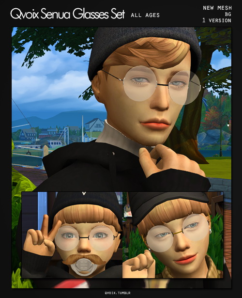 All Ages Senua Glasses Set at qvoix – escaping reality image 907 Sims 4 Updates