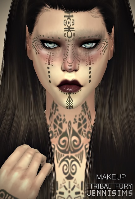 Collection Makeup & Tattoos (Tribal Fury, Wound, Dirt) at Jenni Sims image 953 Sims 4 Updates