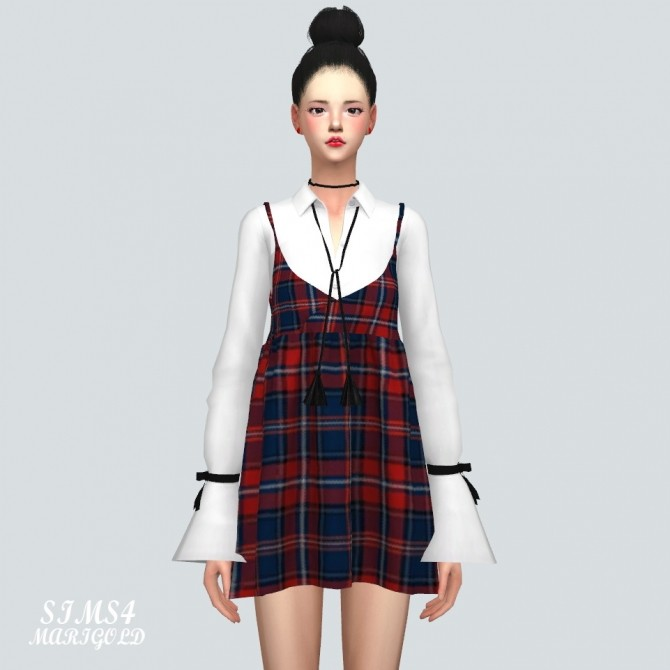 Bustier Mini Dress With Trumpet Sleeve Shirt at Marigold image 9610 670x670 Sims 4 Updates