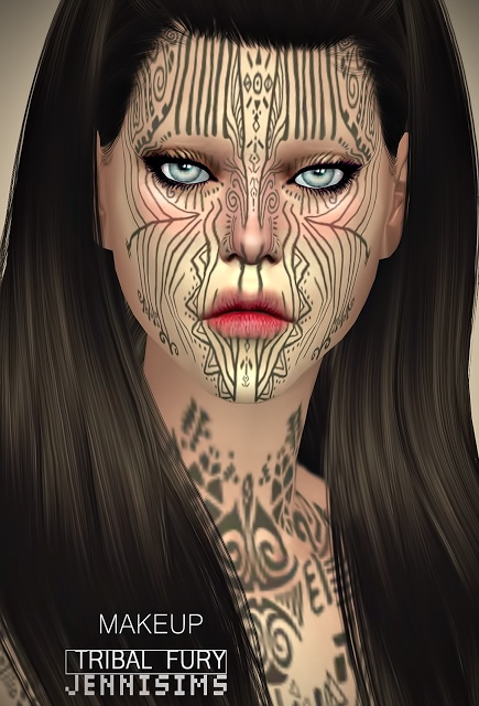 Collection Makeup & Tattoos (Tribal Fury, Wound, Dirt) at Jenni Sims image 963 Sims 4 Updates