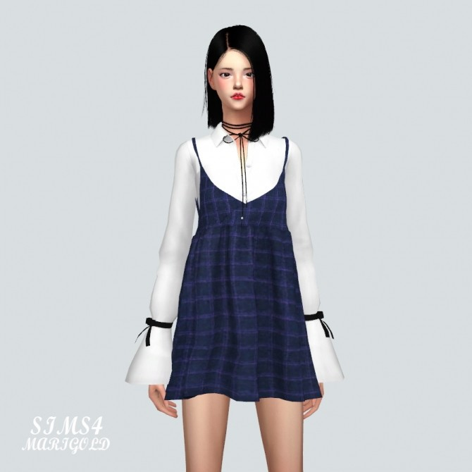 Bustier Mini Dress With Trumpet Sleeve Shirt at Marigold image 9910 670x670 Sims 4 Updates