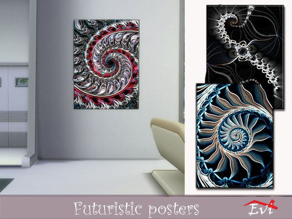 Futuristic posters by evi at TSR image 10414 Sims 4 Updates