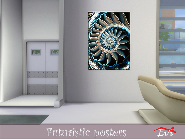Futuristic posters by evi at TSR image 10614 Sims 4 Updates
