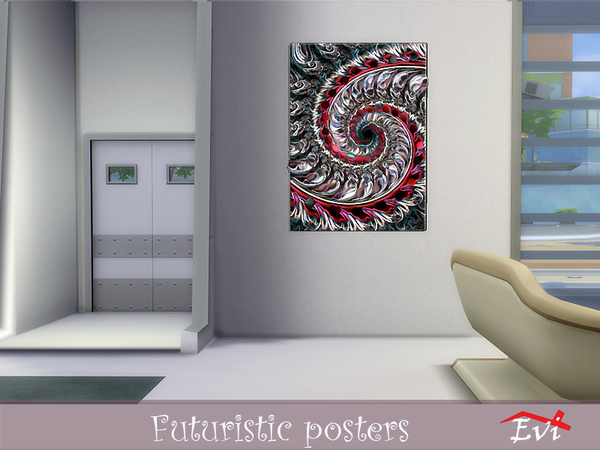 Futuristic posters by evi at TSR image 10713 Sims 4 Updates