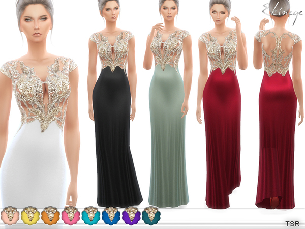 Sims 4 Embellished Gown by ekinege at TSR