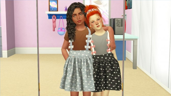 Sims 4 THESE PRETTY LITTLE PIXELS BOW SUSPENDERS SKIRT at REDHEADSIMS
