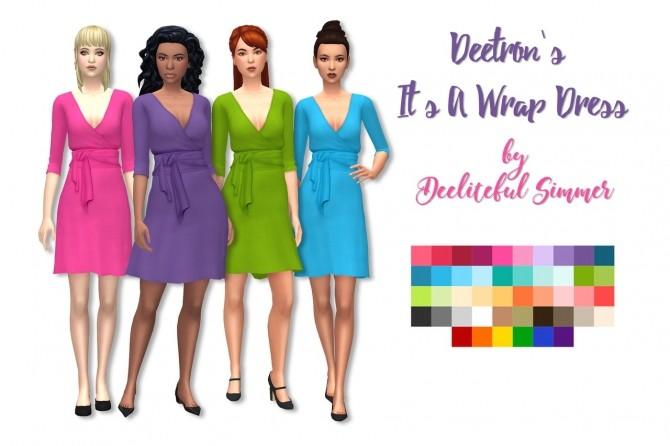 Sims 4 Deetrons wrap dress recolors at Deeliteful Simmer
