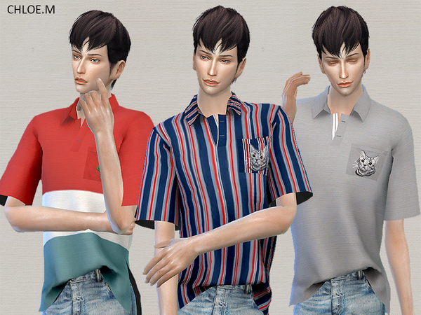 Sims 4 Polo shirt  by ChloeMMM at TSR